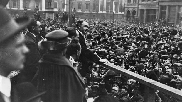 Irish politician William Cosgrave addresses a Dublin crowd at College Green on his election victory as president of the Executive Council of the Irish Free State. Photograph: Hulton Archive/Getty Images