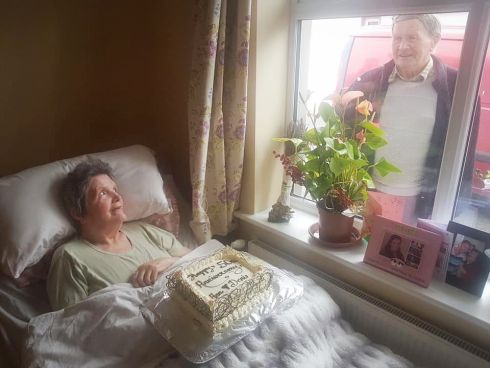 THERE'S ALWAYS A WAY: A golden wedding anniversary is a special moment and not even coronavirus was going to stop incurable romantic Denis McCarthy who sang to his wife Anne from outside her nursing home window. Photograph: Courtesy of Red FM