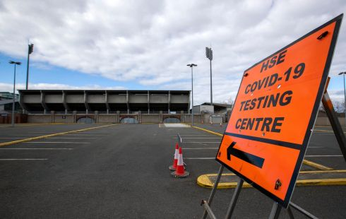 JUST FOLLOW THE FLOODLIGHTS: The coronavirus testing centre at Tallaght Stadium was closed on Wednesday, due to a lack of equipment. Photograph: Colin Keegan/Collins Dublin