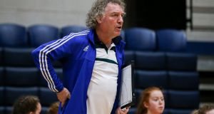Pat Critchley coaching the Scoil Chríost Rí side in the Under-16A Girls' All-Ireland Schools Cup Final at the  National Basketball Arena in  Tallaght in 2017. Photograph: Gary Carr/Inpho