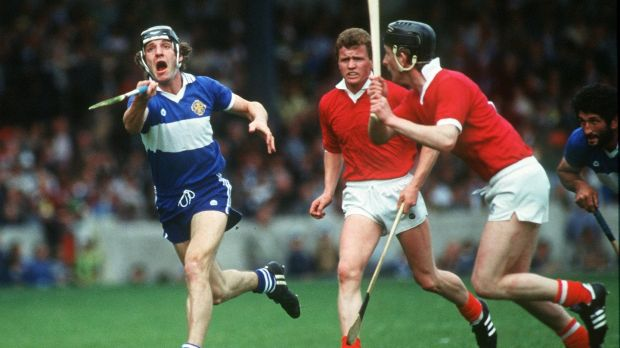 Pat Critchley in action for Laois against Cork's Pat Hartnett and Seán O'Gorman in 1984. Photograph: Billy Stickland/Inpho