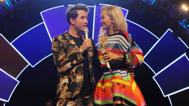 Nick Grimshaw and Rita Ora attend the Radio One Teen Awards in 2014. File Photo by Eamonn M. McCormack/Getty Images