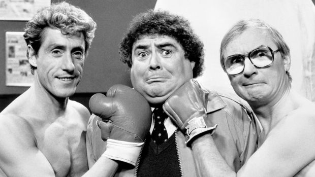 Eddie Large (centre) with Roger Daltrey (left) and comedy partner Syd Littl eduring filming of an episode of the Little and Large show in 1986. File photograph: PA/PA Wire