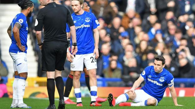 Séamus Coleman has faced a battle to hold on to his right-back slot at Everton with Djibril Sidibé. Photograph: Paul Ellis/AFP via Getty Images