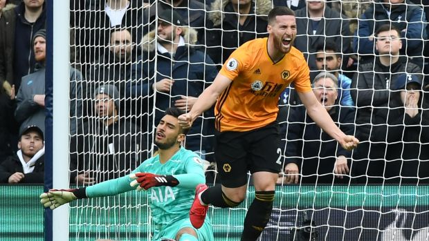 Matt Doherty celebrates scoring for Wolves against Tottenham Hotspur. Photograph: Daniel Leal-Olivas/AFP via Getty Images