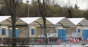 A drive-thru coronavirus testing facility being built in the car park of the SSE Arena in Belfast. A DUP councillor has apologised after being criticised for linking the virus to abortion and same-sex marriage being made legal in the North. Photograph: Niall Carson/PA Wire.