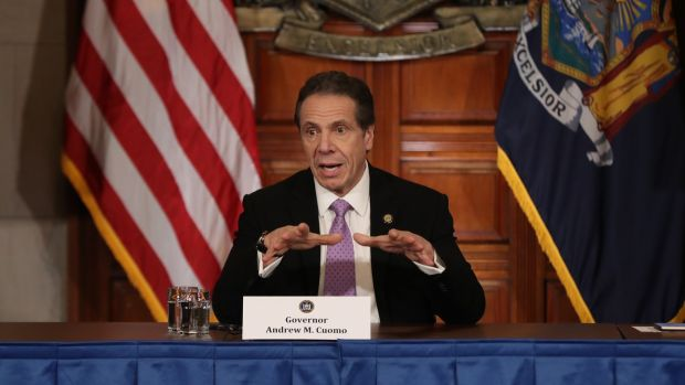 New York governor Andrew Cuomo speaks during his daily news conference on coronavirus. Photograph: Bennett Raglin/Getty
