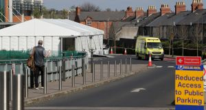 A temporary marquee structure erected on the grounds of the Mater hospital in Dublin. Photograph: Brian Lawless/PA Wire