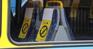 Social distancing on Dublin Bus. The Central Bank has warned that the coronavirus crisis is likely to blow a €22 billion hole in the State's finances. Photograph Nick Bradshaw
