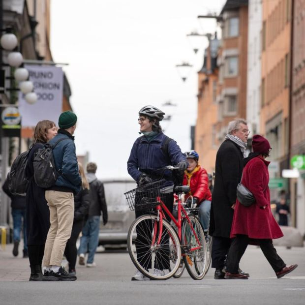 Social distancing?: people in Stockholm on Wednesday. Photograph: Jessica Gow/EPA