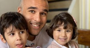 Simon Zebo pictured with son Jacob and daughter Sofia. Photograph courtesy of Simon Zebo