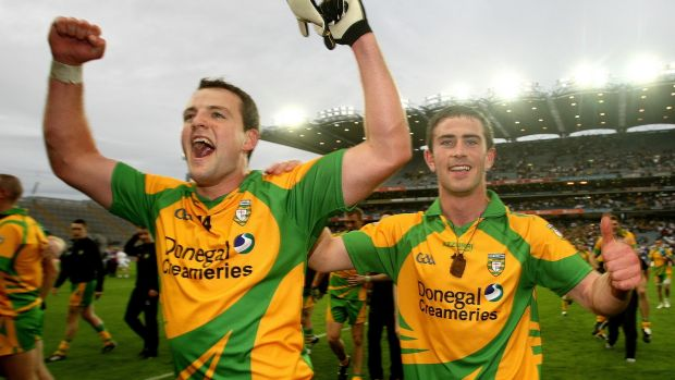 Michael Murphy and Patrick McBrearty celebrate Donegal's win over Kildare. Photograph: James Crombie/Inpho