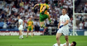 Kevin Cassidy celebrates scoring the winning point for Donegal against Kildare in the 2011 All-Ireland quarter-finals. Photograph: Ryan Byrne/Inpho