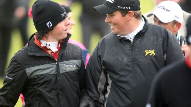 Shane Lowry and Rory McIlroy during the 2009 Irish Open. Photograph: Cathal Noonan/Inpho