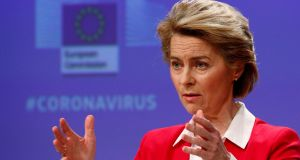 European Commission president Ursula von der Leyen: the commission  temporarily suspended the EU's fiscal rules to allow countries to spend what they need to face these exceptional circumstances. Photograph: Francois Lenoir/AP