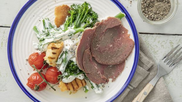 Caesar dressed purple sprouting broccoli with McGrath's corned beef