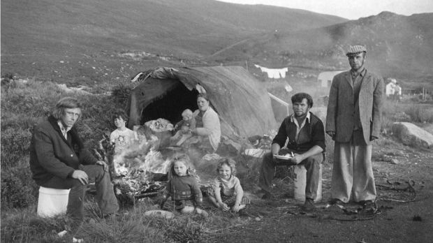 The McDonagh family's camp at Crolly, Co Donegal, 1975. Photograph: Vincent O'Donnell, reproduced with permission.