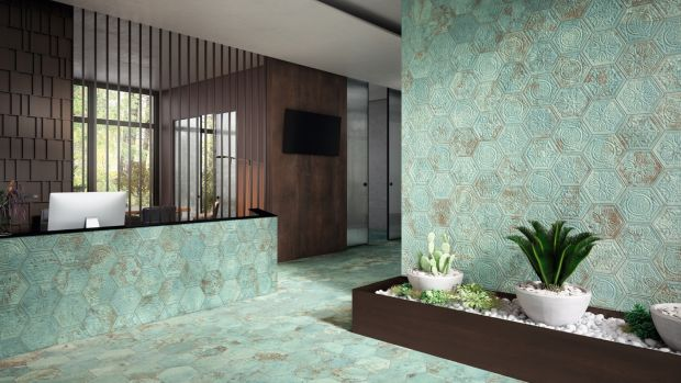 Oxidised green copper look from Italian Tile and Stone