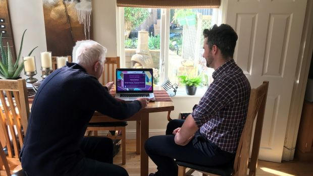 Dr Lorcán Ó Maoileannaigh sat down at the kitchen table with his father in Rathfarnham, Dublin, and tuned into the NUIG online graduation ceremony on his laptop.