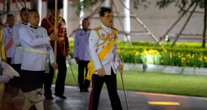 Thailand's King Maha Vajiralongkorn arrives to pay respects at the King Rama I monument to mark Chakri Memorial Day that honours the founding of the ruling Chakri Dynasty in Bangkok on April 6th, 2020. Photograph:  Athit Perawongmetha/AFP via Getty