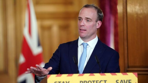 Irish backstop - Britain's foreign secretary Dominic Raab during a digital Covid-19 press conference at 10 Downing Street. Prime minister Boris Johnson remains in St Thomas's Hospital in London. Photograph: Pippa Fowles/10 Downing Street