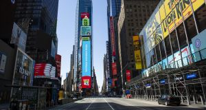 A near empty Times Square in New York City on April 6th. Photograph: Kena Betancur/Getty