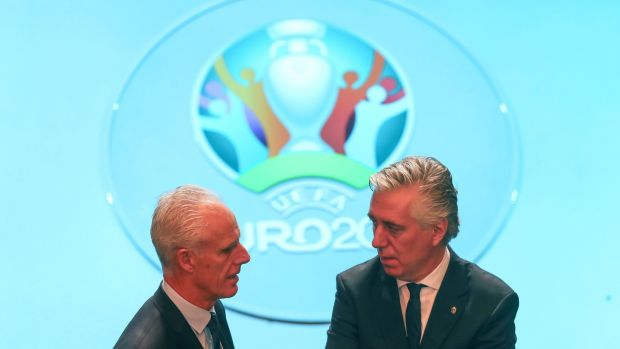 Mick McCarthy and John Delaney pictured at the draw for Euro 2020. Photograph: Tommy Dickson/Inpho