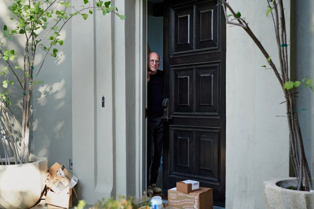 Larry David, under self-quarantine, at his home in Los Angeles on March 27th. Photograph: Jake Michaels/New York Times