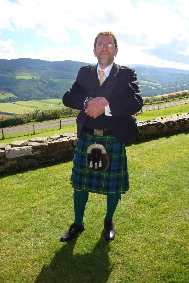 Mike Aitken at a family wedding in Aberfeldy, Scotland.
