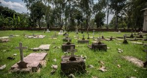 A cemetery where people who died of Ebola in the 2000-2001 outbreak are buried in Gulu, Uganda. Photograph: Sally Hayden