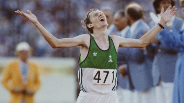 Ireland's John Treacy takes silver in the marathon at the 1984 Olympics at the Los Angeles Coliseum. Photograph: Tony Duffy/Getty Images
