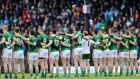 Meath players stand for the national anthem ahead of the Allianz Football League Division 1 game against Meath at  Páirc Tailteann. Photograph: Laszlo Geczo/Inpho
