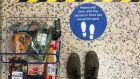 Social distancing markers at a Tesco shop as part of measures to  help curb the spread of coronavirus. Photograph:  Aaron Chown/PA Wire