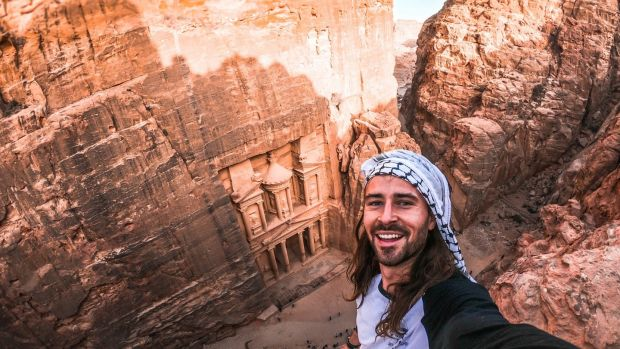 Harry McNulty in Petra, Jordan. Photograph: Instagram