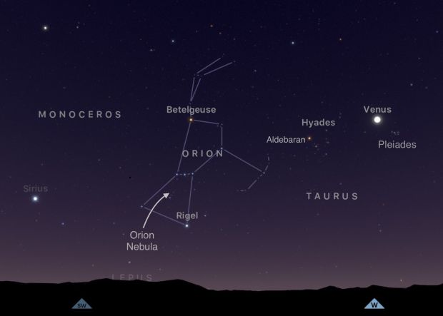 Orion, the hunter, is the jewel of the night in the southern sky. Photograph: Sky Guide app