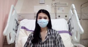 Simran Lalwani in a low-risk ward in a Hong Kong hospital after testing positive for coronavirus. Photograph: Christina Simons for The New York Times