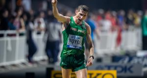 Ireland's Brendan Boyce celebrates finishing sixth in the 2019 World Cup in Doha. Photograph: Morgan Treacy/Inpho