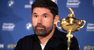 Pádraig Harrington believes that the Ryder Cup should not go ahead without fans. Photograph:  Adam Davy/PA Wire