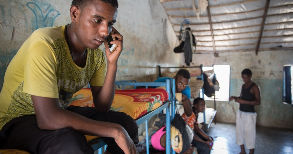 An Eritrean teenager in a dormitory for unaccompanied minors in Shagarab refugee camp, eastern Sudan, in 2017. Many Eritreans stop here before travelling on towards Libya. Photograph: Sally Hayden