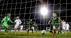 Ireland's Diane Caldwell scores her goal against Greece in Dublin last month. Photograph: Ryan Byrne/Inpho