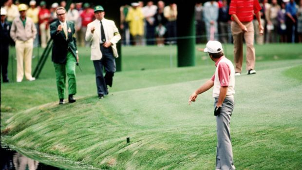 Curtis Strange: saw his chance of Masters glory disappear when he bogeyed both par fives, the 13th and 15th, during the final round in 1985 at Augusta. Photo graph: Augusta National/Getty Images