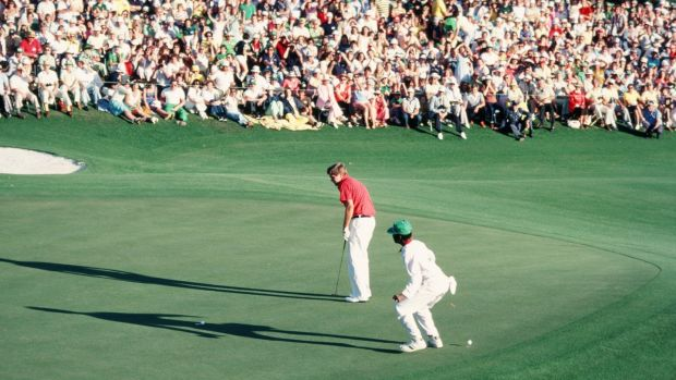 Ed Sneed watches his missed par putt teeter on the edge of the 18th hole during final round of the 1979 Masters at Augusta. Fuzzy Zoeller won the subsequent three-man playoff that also inluded Tom Watson. Photograph: Augusta National/Getty Images