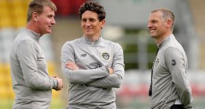 Jim Crawford (right) with  Stephen Kenny and Keith Andrews. Photograph: Oisin Keniry/Inpho