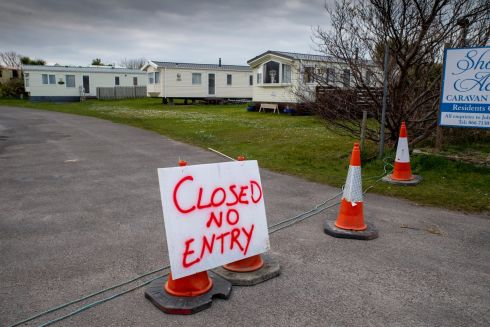 CARAVAN CLOSURES: Shore Acre Caravan Park in Tralee, Co Kerry, is shuttered under Government closure orders to prevent the spread of coronavirus. Photograph: Domnick Walsh/Eye Focus Ltd