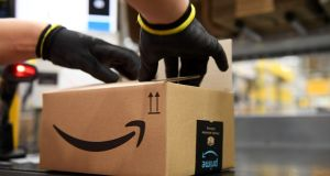 'We use a variety of modes of transport to distribute packages to customers through our European logistics network,' an Amazon spokeswoman says. Photograph: Daniel Leal-Olivas/AFP via Getty Images