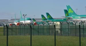 Aer Lingus planes grounded at Dublin Airport due to Covid-19. Photograph: Alan Betson/The Irish Times
