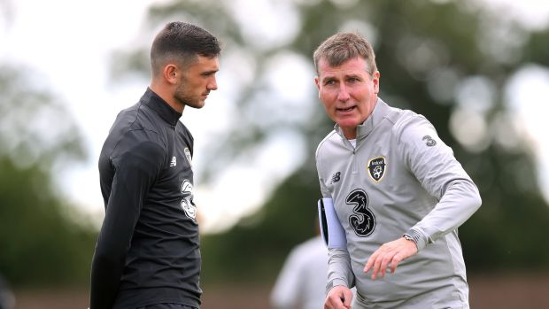 Stephen Kenny with Tottenham forward Troy Parrott. Photograph: Ryan Byrne/Inpho