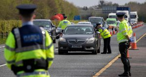 Gardai conduct COVID-19 checkpoints this afternoon on the Westbound carriageway of the M4 Motorway.Picture Colin Keegan, Collins Dublin