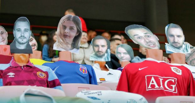 Mannequins fill seats during Dynamo Brest's clash with FC Shakhter Soligorsk. Photograph: Alexey Komelkov/AP