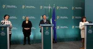 Director of Creative Ireland Tania Banotti, Minister for Finance  Paschal Donohoe and Minister for Culture, Heritage and the Gaeltacht Josepha Madigan give a media briefing at Government Buildings on Friday April 3rd. Photograph: Leon Farrell/Photocall Ireland/PA Wire
